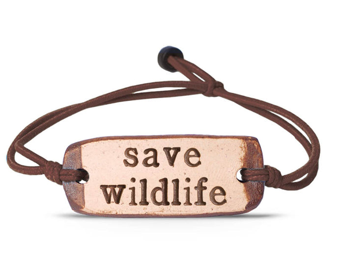 save wildlife bracelet | brown