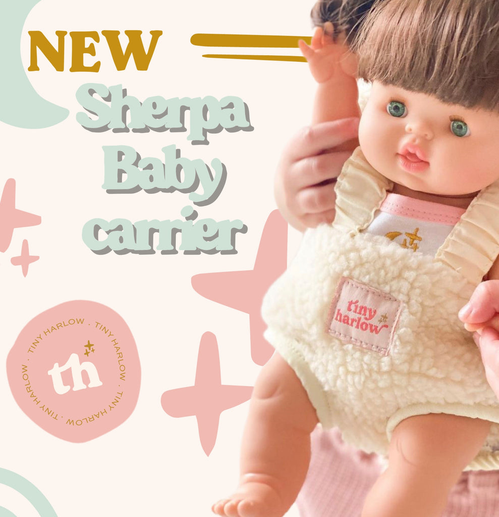 Tiny Harlow Doll's Sherpa Baby Carrier