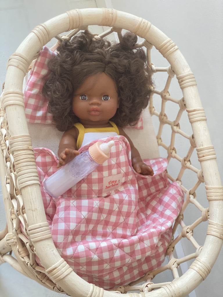 Tiny Harlow dolls bedding with doll in rattan standard bassinet
