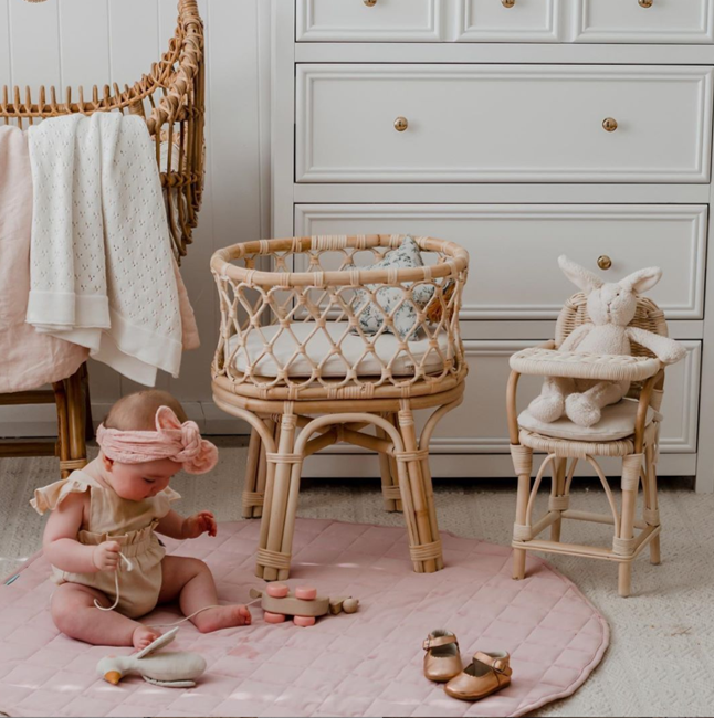 Rattan Doll's Crib and Doll's Highchair with cute baby