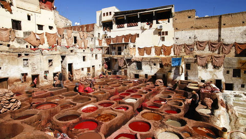 Chouara traditional leather tannery in Fez, Morocco. Image via Shutterstock.