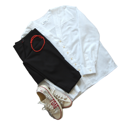 White shirt and black trousers