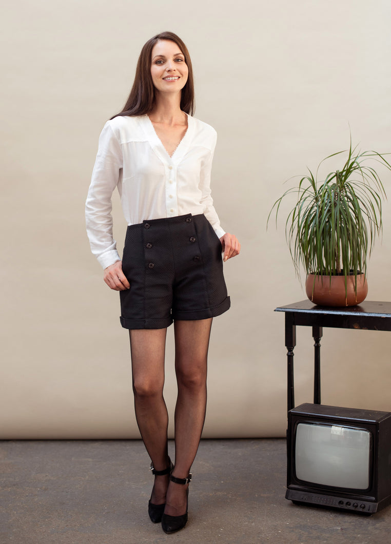 Organic cotton black sailor shorts with tights