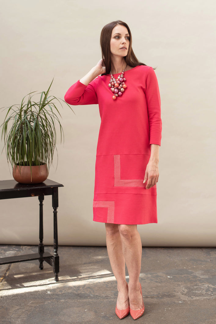 Red midi dress in organic cotton jersey