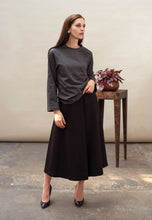 Load image into Gallery viewer, Black midi skirt organic wool