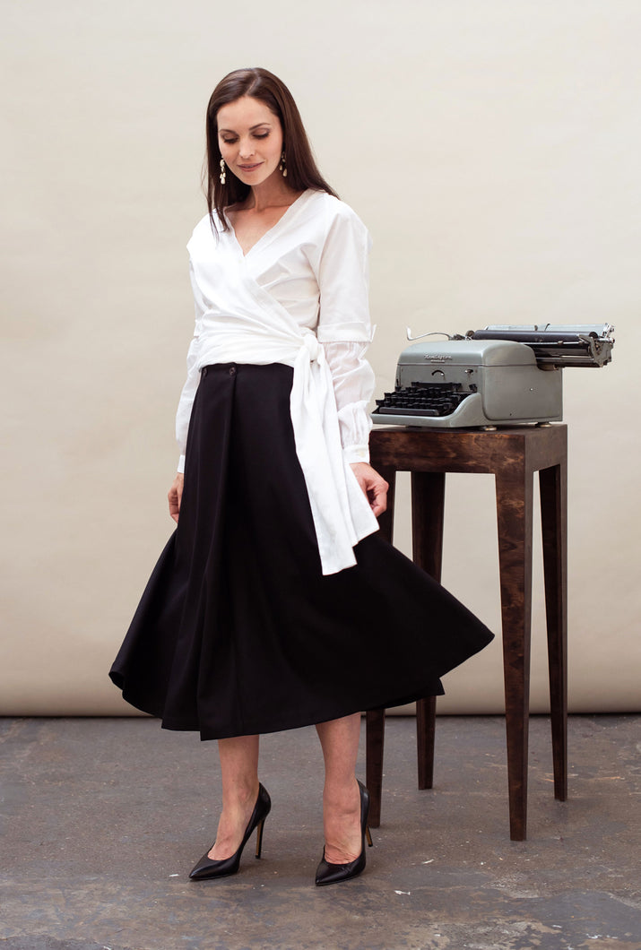 Black midi skirt organic wool