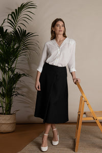 Black midi skirt organic cotton
