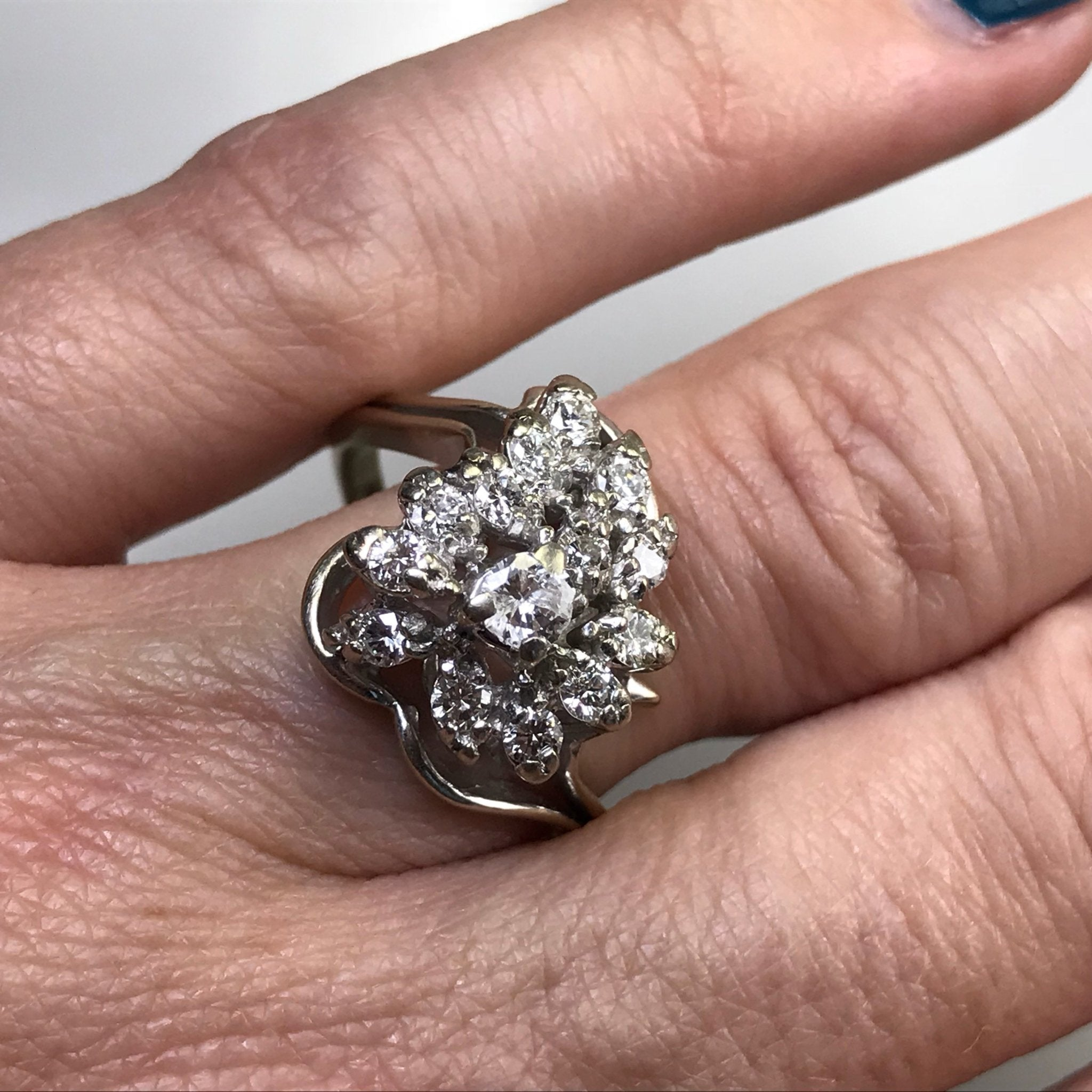 14K White Gold Diamond Cluster Ring Vintage Estate Jewelry. 10 Year Anniversary Gift Unique Engagement Ring April Birthstone