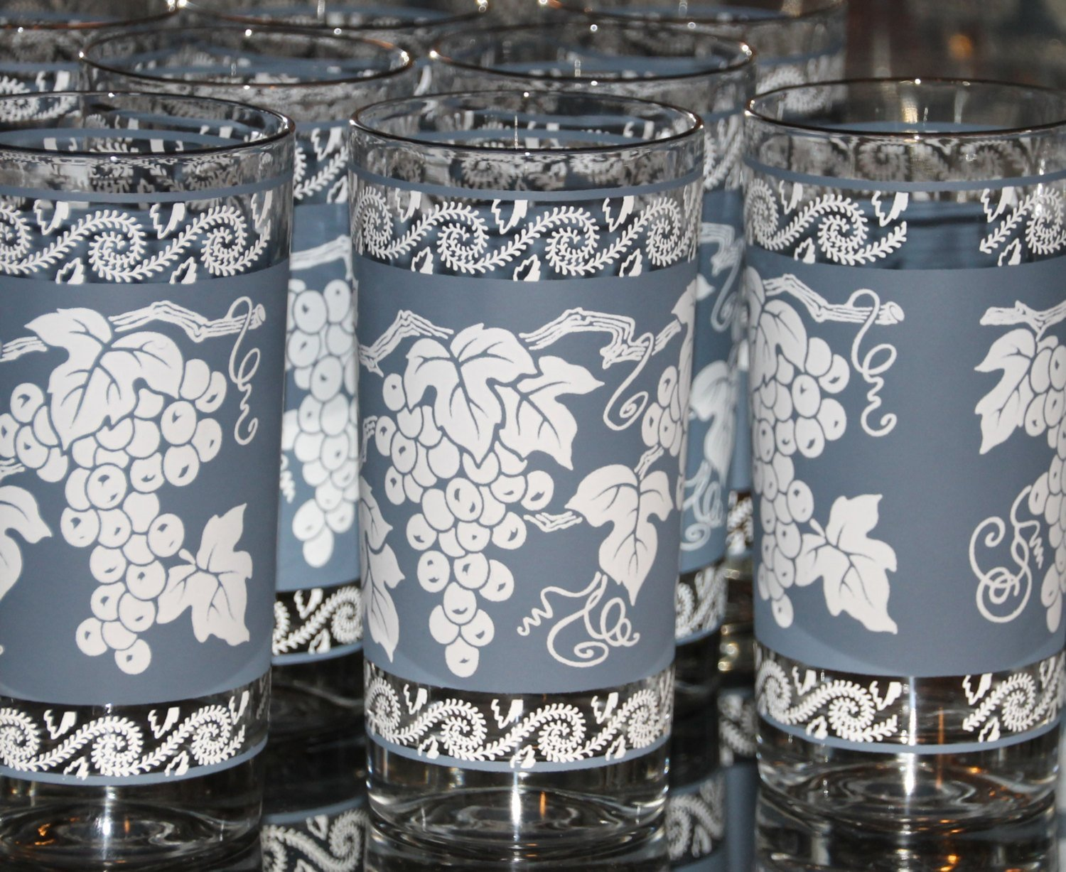 Vintage Glassware Of Tall Tumbler Glasses 1960s Anchor Hocking Blue A