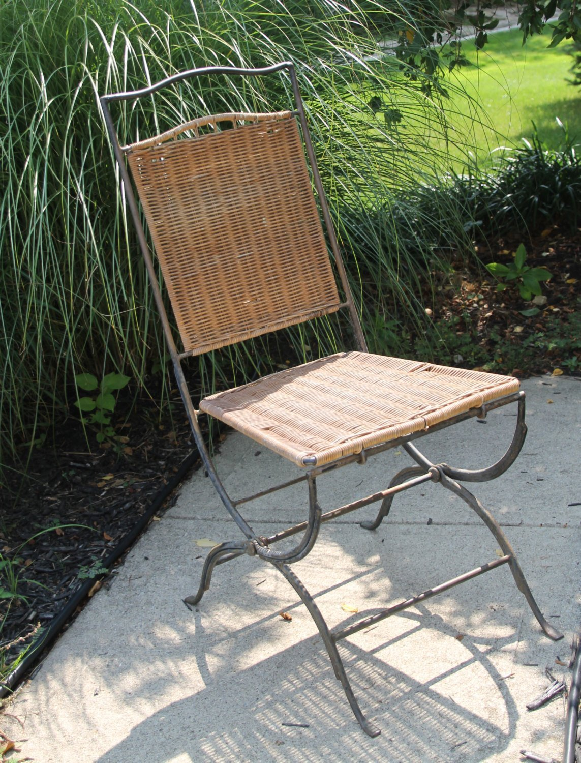 Vintage Wicker Rattan Chair Mid Century Modern Seating With Wrought