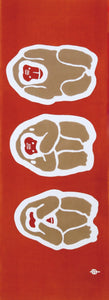 Three wise monkeys (red)