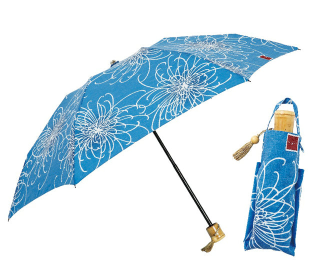 Umbrella / Parasol   Pale Blue Chrysanthemum