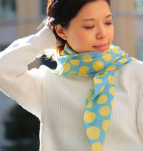 Load image into Gallery viewer, Wool Scarf - Aqua Polka Dot