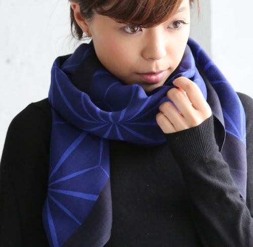 Blue Hemp Wool Scarf