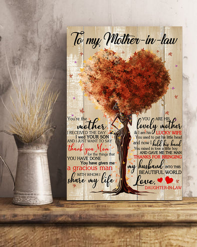 Daughter To My Mother In Law Poster Canvas You're The Mother I Received The Day I Wed Your Son And I Just Want To Say Thank You Mom For The Thing That You Have Done You Are Given Me A Gracious Man