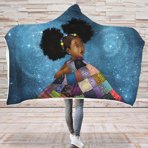 African Black Daughter Hooded Blanket - Melanin Poppin Adorable Daughter Hooded Blanket