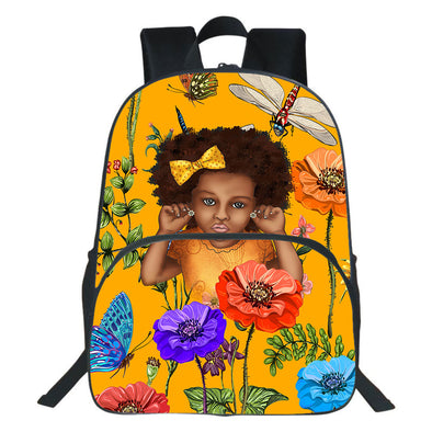 Nice Curly Fro Natural Flower Style Backpack