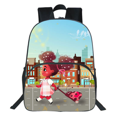 For My Daughter Go To School Afro Bubble Girl Backpack