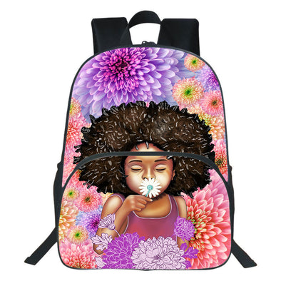 Afro Girl Daisy Cute Kid Flower Style Backpack
