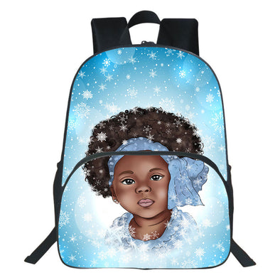 Afro Turban Nice Little Girl Winter Snow Flake Backpack