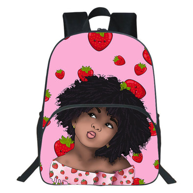 Cute Lovely Afro Kid Strawberry Pink Style Backpack