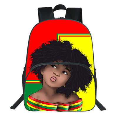 Vintage Color Red Yellow Green Hair Afro Girl Backpack