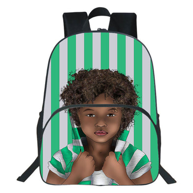 African Curly Hair Kid Vintage Green White Backpack