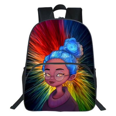 Blue Hair Black Kid Beauty and Coloful Backpack