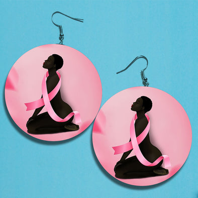 African America Art -  Black Fighter Breast Cancer Awareness Earrings