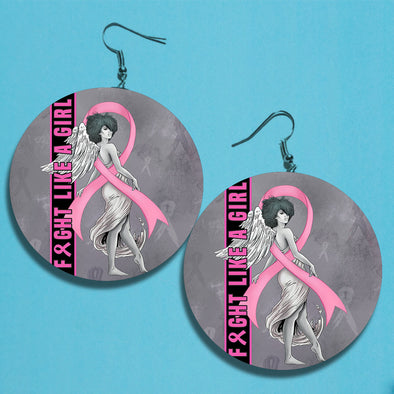Fight Like A Girl Breast Cancer Awareness Earrings