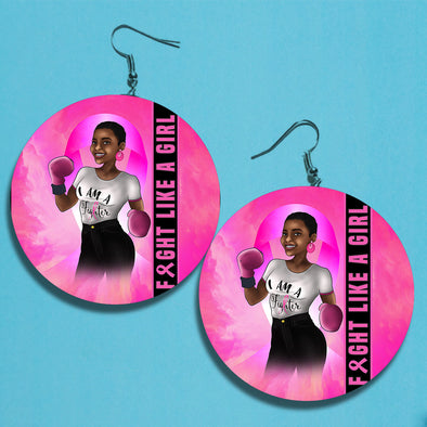 Fight Like A Girl Breast Cancer Awareness Earrings 1