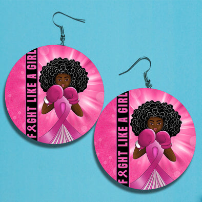 Fight Like A Girl Breast Cancer Awareness Earrings 4