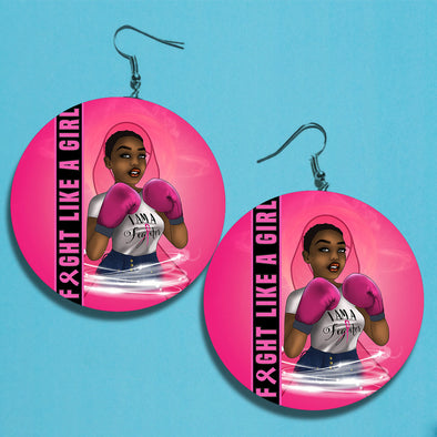 Fight Like A Girl Breast Cancer Awareness Earrings 5
