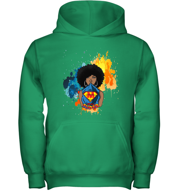 Mother's Day Gift - Afro Natural Black Super Mom Youth Hoodie