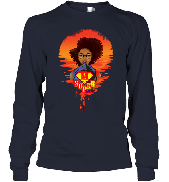Mother's Day Present - Afro Kinky Curly Super Mom Youth Long Sleeve