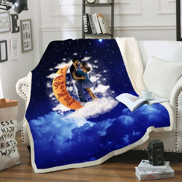 Black Couple Art Fleece Blanket - I Love You To The Moon And Back Fleece Blanket
