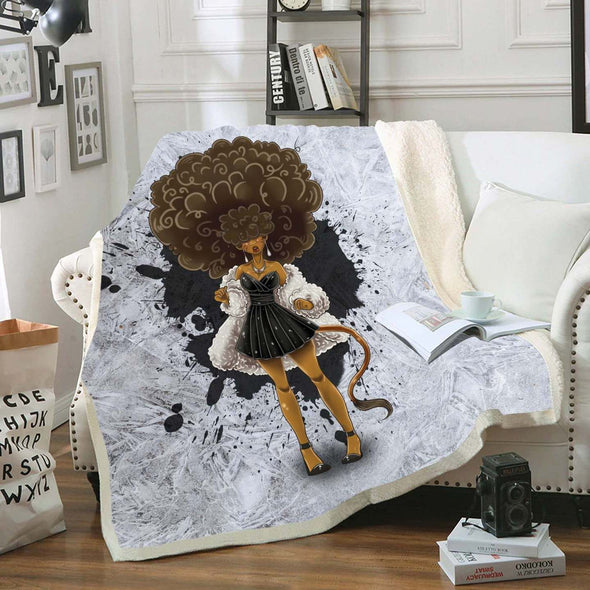 African American Hair Braiding Artwork Fleece Blanket Cosplay Afro Woman
