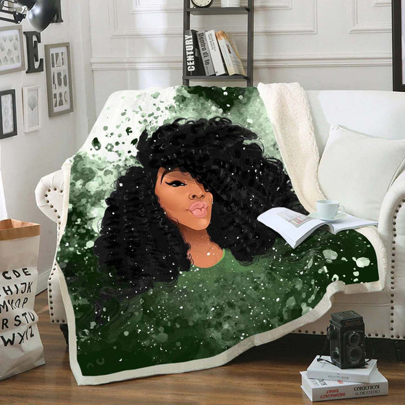 Black Curls Art Fleece Blanket - Afro Curly Girl Fleece Blanket