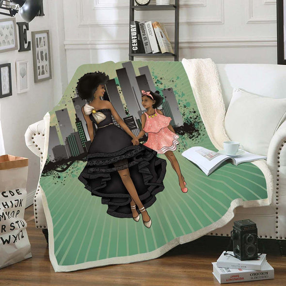 Black Daughter Gift Fleece Blanket - Black Woman And Daughter Go To The Party