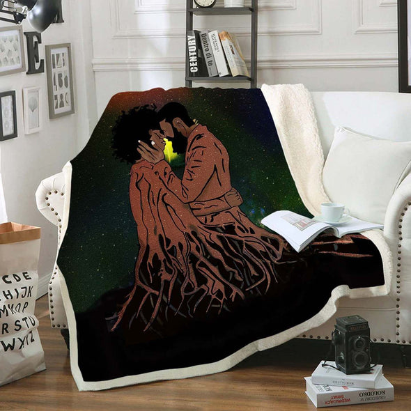 Naptural Black Couple Art - African Forever Love Roots Couple Fleece Blanket
