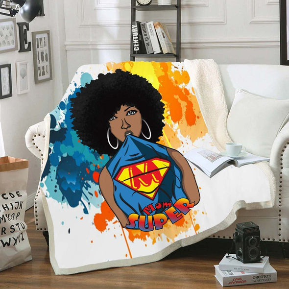 Mother's Day Gift - Afro Natural Black Super Mom Fleece Blanket