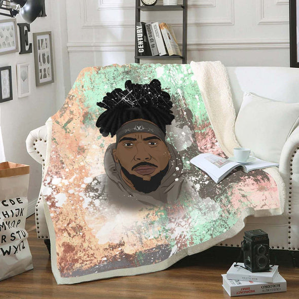 Black Men Artwork Fleece Blanket - Freaking Cool Black Dreadlock Men Fleece Blanket