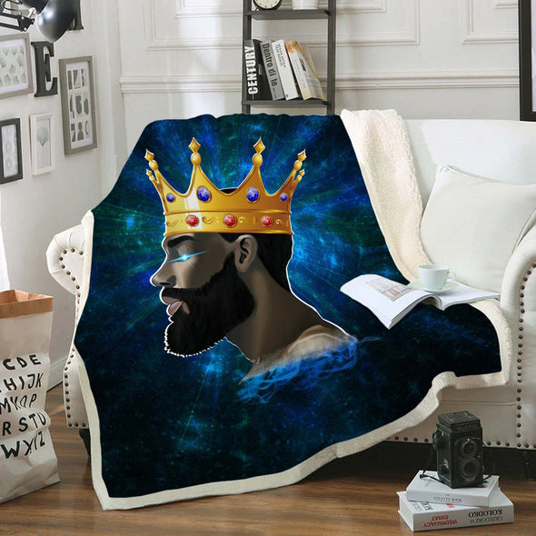 Pride African Man Art Fleece Blanket - Black King In Me Fleece Blanket