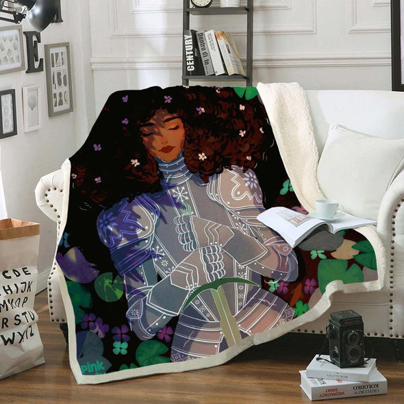 Black Women Art Fleece Blanket - Strong Beauty Afro Lady Knight Fleece Blanket