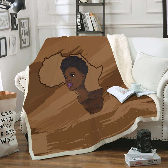 Natural Hair Styling Art Fleece Blanket - Pride Natural Black Short Hair Women Fleece Blanket