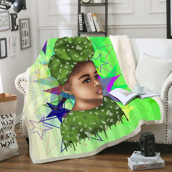 Afro Licious Girl - Afrocentric Afro Turban Girl Fleece Blanket