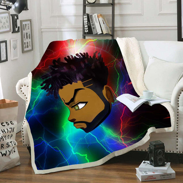 Black Boy Magic Fleece Blanket - Thunder Strong Short Hair Green Eyes Black Man
