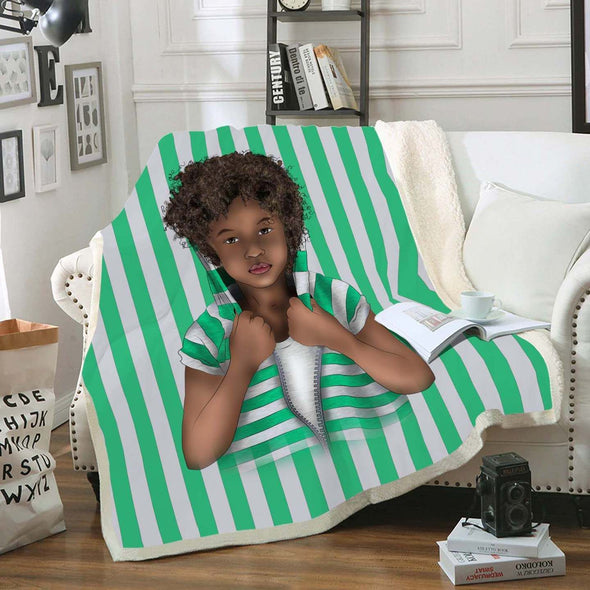 Africa Kid Art Fleece Blanket - African Curly Hair Kid Vintage Green White Fleece Blanket