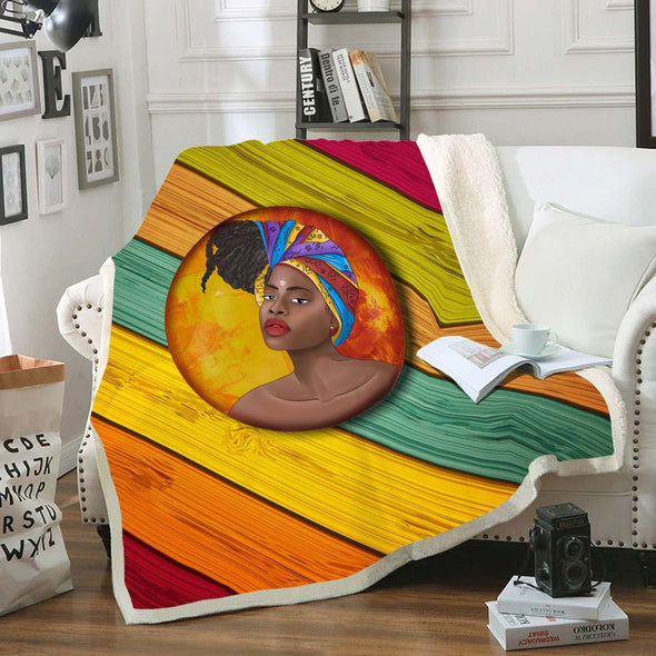 Natural Africa Loves Fleece Blanket - African Headwraps Dreadlocks Hair Women Fleece Blanket