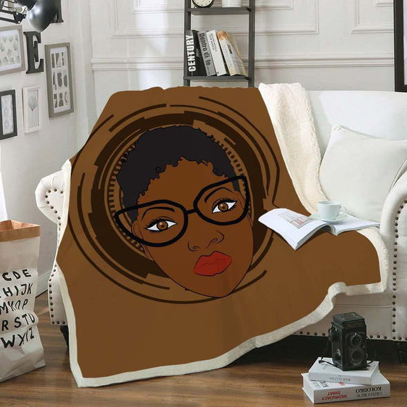 Natural Hair Journey Art Fleece Blanket - African Black Short Hair Fleece Blanket